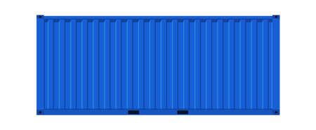 Blue cargo container. Realistic side view metal distribution box, transportation delivery freight international logistic shipping industry vector realistic 3d isolated on white single warehouse object Illustration