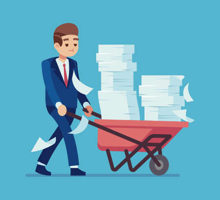 Businessman with a pile of papers. Cartoon man carrying cart with stacks of documents, time management deadline, unfinished job, business process or bureaucracy vector unorganized office work concept