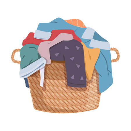 Dirty clothes. Apparel heap with stains in basket, different soiled smelly pile of fabric old shorts, cotton t-shirts and socks Illustration