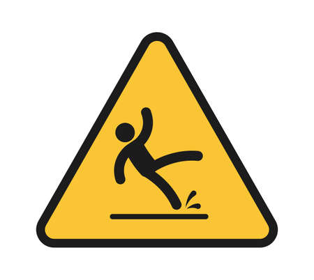 Falling people. Person injury slipping on wet floor. Triangular yellow warning sign, unbalanced man black simple silhouette slips and fall down, danger symbol vector isolated single illustration