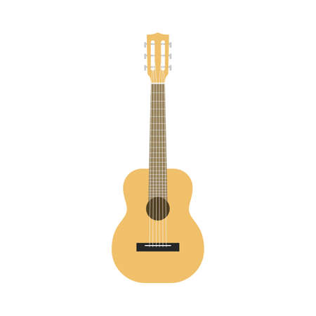 Flat guitar. Acoustic classic musical instrument front view, wooden beige silhouette classical shape, country and rock, pop and jazz music equipment, single isolated on white background illustration