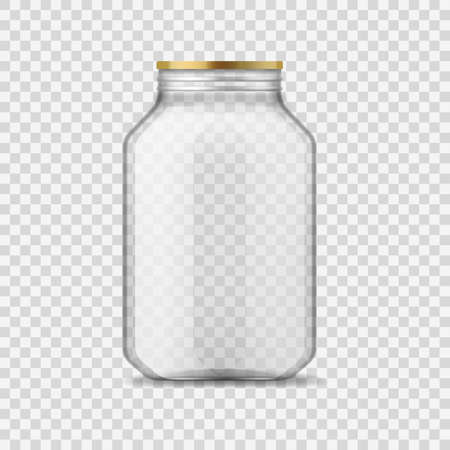 Glass jar. Empty clear glass container with metal cap, closed transparent 3d glassware for homemade jam and canning food, preservation and conservation, storage realistic vector isolated single mockup