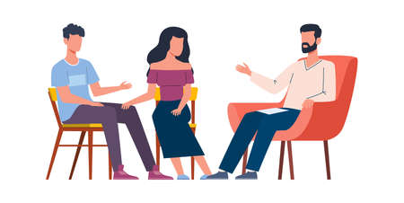 Men and women talking to psychotherapist. Group and family therapy, husband and wife talk to male psychologist. Psychoanalysis and psychotherapy, mental problems counseling, vector flat illustration