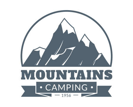 Mountain emblem. Mountains camping and adventure tourism vintage logo, hiking expedition retro label, travel sticker, icy white peak and text vector monochrome isolated on white single illustration