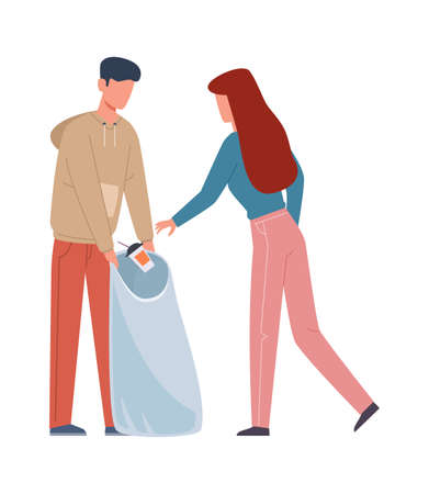 People collecting garbage. Man and woman sorting recycling waste, family separate trash in container, volunteers pollution protect and ecology recycle concept flat vector cartoon isolated illustration