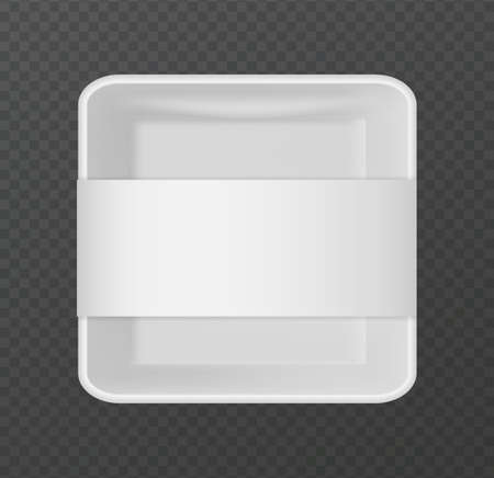 Plastic packaging. 3D snack package. Realistic white empty container for portioned food on transparent background. Top view of square lunch box with blank label. Brand identity template, vector tray