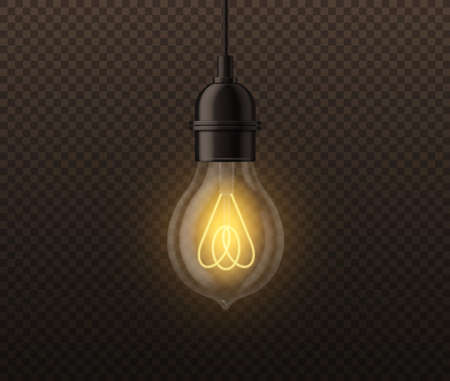 Realistic light bulb. Vintage edison glowing lamp, incandescent illumination, electrical equipment, creative idea, inspiration and think symbol, vector 3d object isolated on transparent background