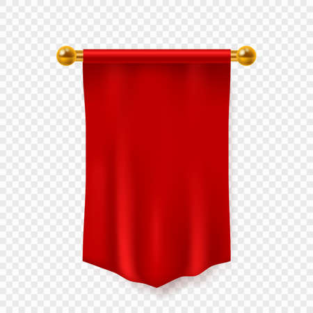 Red pennant. 3d realistic empty textile hanging on wall advertising flag, exhibition clear fabric mockup, template for logo and branding, vector isolated on transparent background single illustration