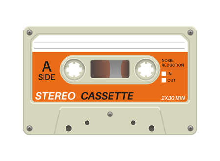 Retro cassette. Audio equipment for analog music records. Blank stereo tape. Isolated plastic musical device. Old-fashioned mixtape of tunes and songs. Vector hipster multimedia tool with copy space