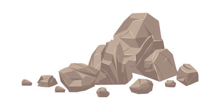 Stone. Cartoon heap of heavy cobbles. Solid natural building material or mountain landscape element. Pile from large and small rough boulders. Isolated part of cracked rock, vector uneven stony shape