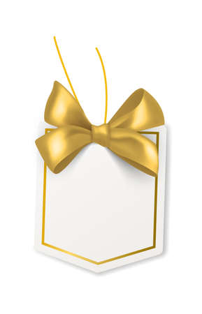 Tag with gold bow. Blank white price paper label, geometric form card with golden satin or silk ribbon, birthday packaging gift
