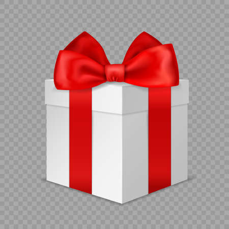 White gift box with red bow. Realistic wrapped present. 3D closed luxury packaging with satin ribbon angle view, holiday or birthday surprise, vector isolated on transparent background illustration