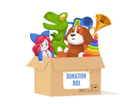 Donation cardboard box. Volunteer community support poor families and orphans, kids toys and games, doll and bear in container, help for children cartoon bright isolated on white background concept