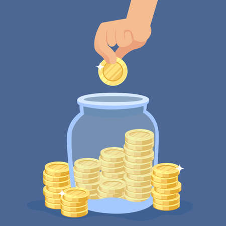 Hand puts coins into the jar. Transparent bottle with stacks, saving gold coin in moneybox, banking deposit or credit, investment and profit financial concept vector flat cartoon isolated illustration