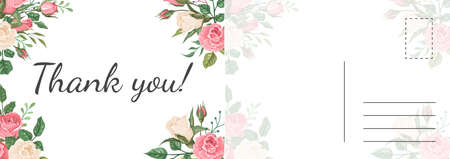 Thank you roses card. Garden pink and white rose flowers and green leaves botanical decor composition, grateful letter template, holiday modern design invitation and greeting cards vector illustration Illustration