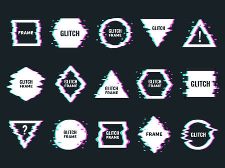 Glitch effects frames. Distortion and noise abstract minimalistic shapes, digital interferences design, broken forms modern graphic. Trendy minimal poster templates with copy space vector isolated set 일러스트