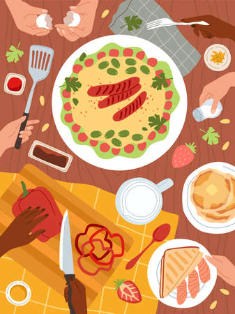 Cooking food. Dishes preparations, restaurant ingredients, hands with kitchen utensils and cutlery, slicing vegetables, healthy meal menu. Table top view full of plates. Vector cartoon illustration