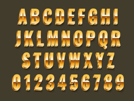 Gold 3d font. Realistic metal latin alphabet, shiny effect capital english letters and glowing metallic numbers, luxury golden typography, vip and award inscriptions. Vector 3d glossy abc isolated set