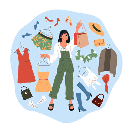 Shopping woman. Cartoon girl buys wear, dresses and shoes, big fashion shop sales, clothing circle scene, choice amidst clothes and accessories chaos, paper shopping bags. Vector fashion concept 일러스트
