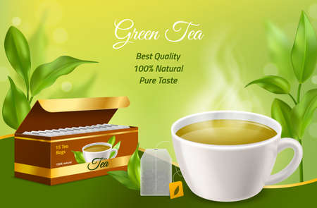 Realistic tea. 3d white porcelain cup with morning herbal hot drink, cardboard box with tea bags, green realistic leaves background. Advertisement and identity template with copy space vector concept