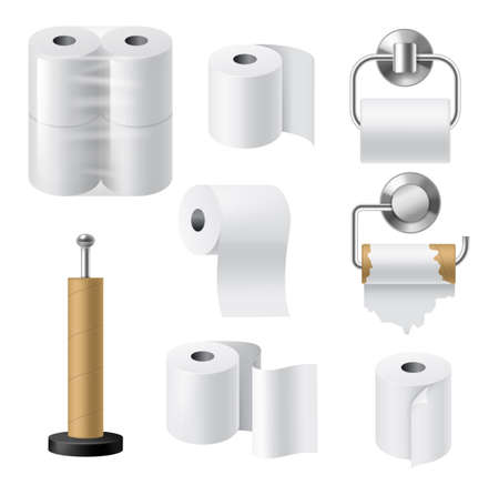 Paper roll holders. Realistic hygiene products kitchen and bathroom accessories, paper towels tapes in rolls, cardboard bushings and metal chrome holder, cellophane packaging. Vector 3d mockup set