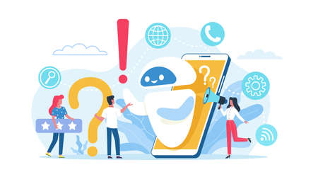 Online technical support. Help service mobile app, client assistant, remote problem solving, round-the-clock digital advisor. Robot answering to clients and buyers questions vector helpdesk concept