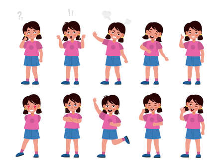 Girl emotions set. Emotional kid character in different poses, feelings expression, mood options, body language, happy and unhappy, smile and sadness. Vector flat cartoon children character collection 일러스트