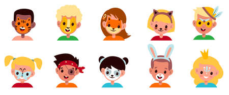 Painted kids faces. Children animalistic and fabulous makeup, boys and girls with party funny masks, bright cute portraits, animals and fairy tales creature facial mask and makeover cartoon vector set
