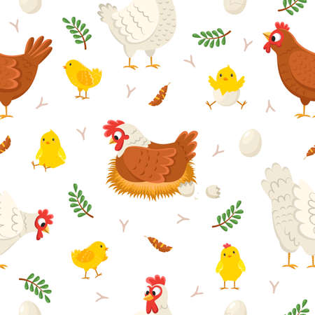Easter chicken seamless pattern. Funny laying hens with baby chicks and eggs, birds on nests, egg shell, plants twigs and feathers. Decor textile, wrapping paper wallpaper vector print or fabric 일러스트