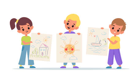 Kids show drawings. Children arts presentation, colourful doodles on paper sheets, girl and boys hold their painting works. School and kindergarten exhibition vector flat cartoon isolated concept 일러스트