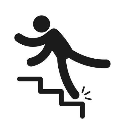 Person injury slipping on wet floor. Falling people black simple silhouette, danger symbol unbalanced man slips and fall down from stairs, warning sign template, vector isolated single illustration