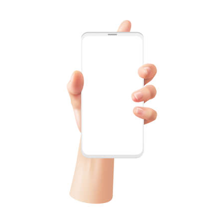 Realistic hand with phone. Woman holds smartphone with white blank screen, advertising on device template, gadget touchscreen interface gestures vector 3d isolated on white background illustration