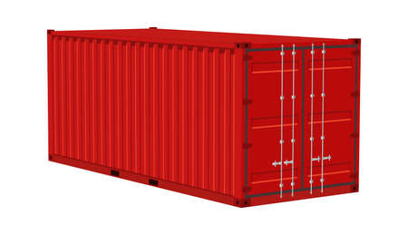 Red cargo container. Transportation delivery freight, realistic angle view metal distribution box, international logistic warehouse object, shipping industry 3d vector isolated on white illustration 일러스트