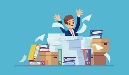 Unorganized office work. Accounting paper documents, folders and boxes piles, man sitting at table with heaps of paper sheets, ineffective workflow, unfinished job, time management vector flat concept 일러스트