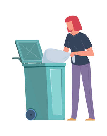 Woman collecting garbage. Girl throws trash bag into dumpster, volunteers pollution protect and recycle, environment care, sorting and recycling waste concept flat vector cartoon isolated illustration