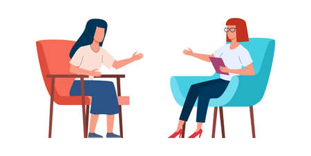 Women talking to psychotherapist or psychologist. Female doctor helps solving psychological problems, mental health treatment, couch consultation, psychotherapy concept vector isolated illustration 일러스트