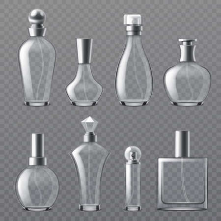 Realistic perfume bottle. Transparent empty bottles various shapes, glass containers with dispenser spray, cosmetic blank glamour packaging collection. Vector isolated on transparent background set