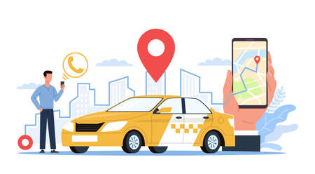 Taxi service. Man with smartphone on city landscape, screen app using, hand holds phone, city map with online geotags taxi point, find and call yellow car. Urban transport vector flat cartoon concept