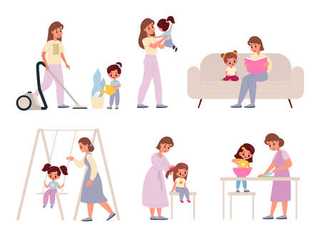 Mother and daughter. Happy moms with daughters, female family activities housekeeping and cooking, education and recreation, reading book and riding on swing, parenting and motherhood vector set 일러스트