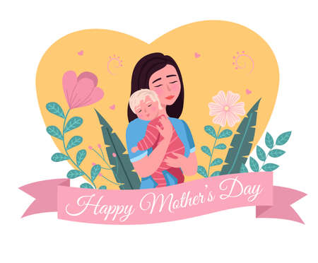 Happy mother day. Cartoon postcard. Loving mom holding child, woman hugs with baby, parent with newborn son or daughter, flowers decor and heart background. Vector greeting card isolated concept
