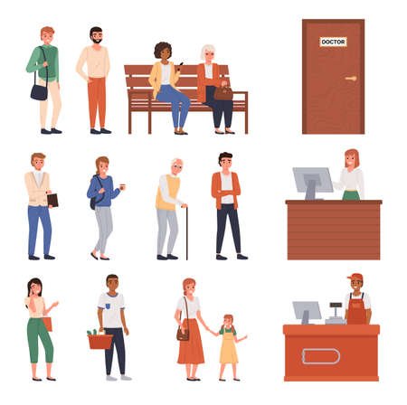 People queue. Different ages and nationalities customers standing waiting, men and women line up string, persons sitting row. Supermarket checkout, check-in counter, doctor door vector cartoon set