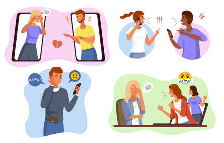 Aggressive messages. Online bullying scenes, angry people network fight and cyberbullying, phone remote pressure and threats. Abuse conversation and conflict in social network vector cartoon concept