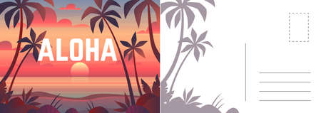 Aloha postcard. Card with summer landscape, seaside sunset and palm trees. Tropical paradise and outdoor recreation letter template, vector vacation invitation and greeting bright cartoon illustration 일러스트