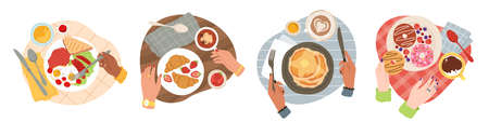 Breakfast hands. Top view morning tasty healthy meals, gourmet brunch in bistro, english breakfast and pancakes, croissants and doughnuts. Cafe or restaurant food vector trendy cartoon style concept 일러스트