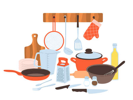 Kitchen utensils. Baking and cuisine tools composition, doodle drawn style cookware and tableware, cartoon pots and pans, knives and forks, cutting board and grater for vegetables vector concept