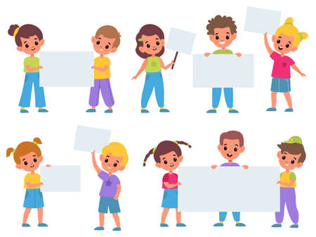 Kids holding banners. Funny children with clean advertising posters collection, boys and girls meeting, placards for text templates. Pupils with white paper sheets, empty frame cartoon vector set 일러스트