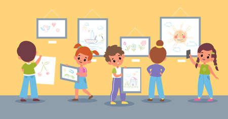 Children drawings exhibition. Boys and girls pictures presentation in school or kindergarten, hanging kids paintings and artworks in museum hall, young artists, vector flat cartoon isolated concept 일러스트
