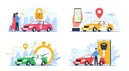 Carsharing service. Cars rental and exchange smartphone applications collection, city taxi tag, people use mobile search transport app. GPS navigation and reliable car order. Vector flat concept set