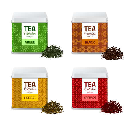 Design product package. Realistic tin boxes with tea different types, metallic gift pack and black, red and green dry leaves, aluminium square containers set bulk products jars vector isolated mockups