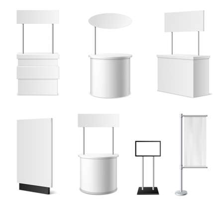 Realistic promotional stands. 3d white blank advertising counters collection, isolated blank events desks mockup, different designs models, clean empty promo tables with signboard and flags vector set 스톡 콘텐츠 - 165336297